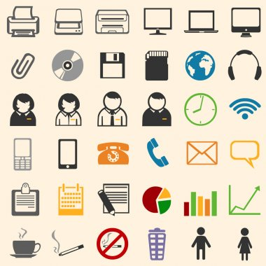 36 color office icons