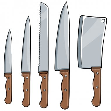 Vector set of kitchen knives