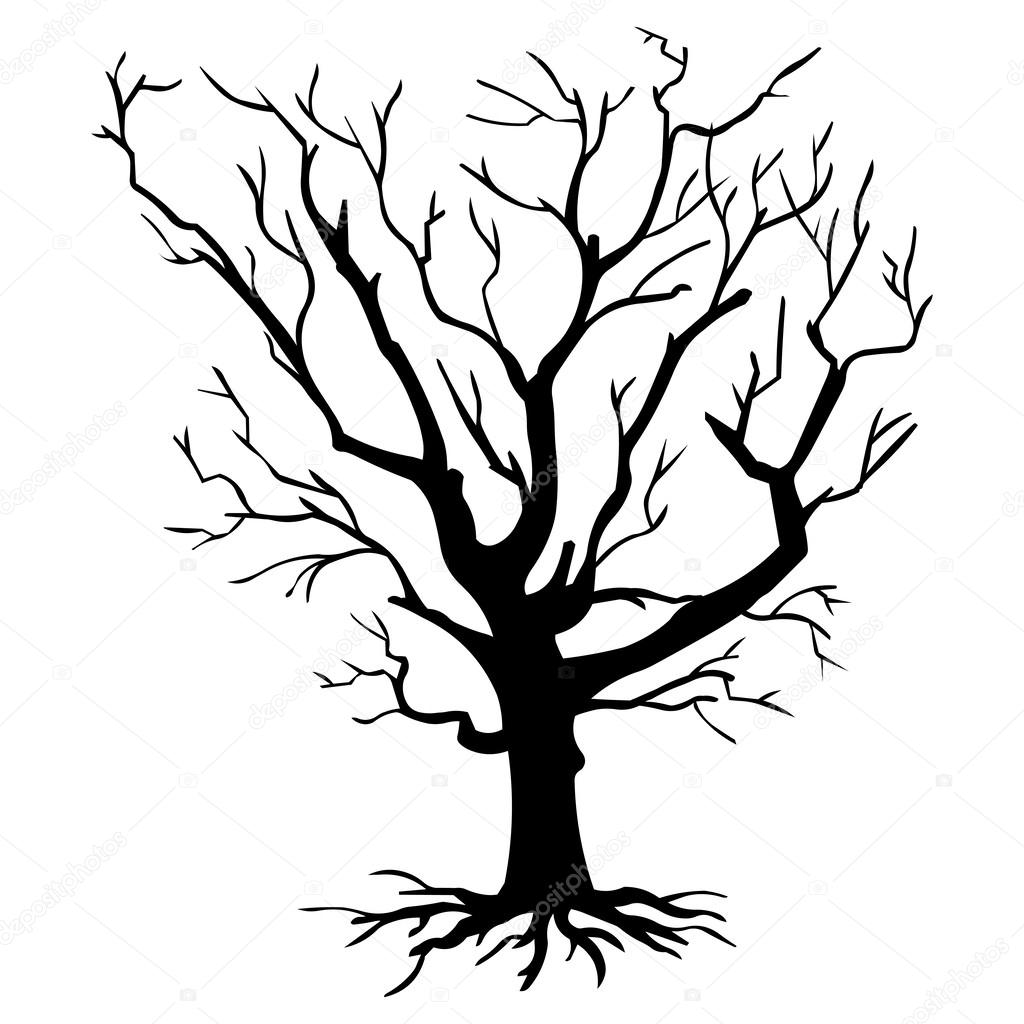 Vector black silhouette of a bare tree — Stock Vector ...