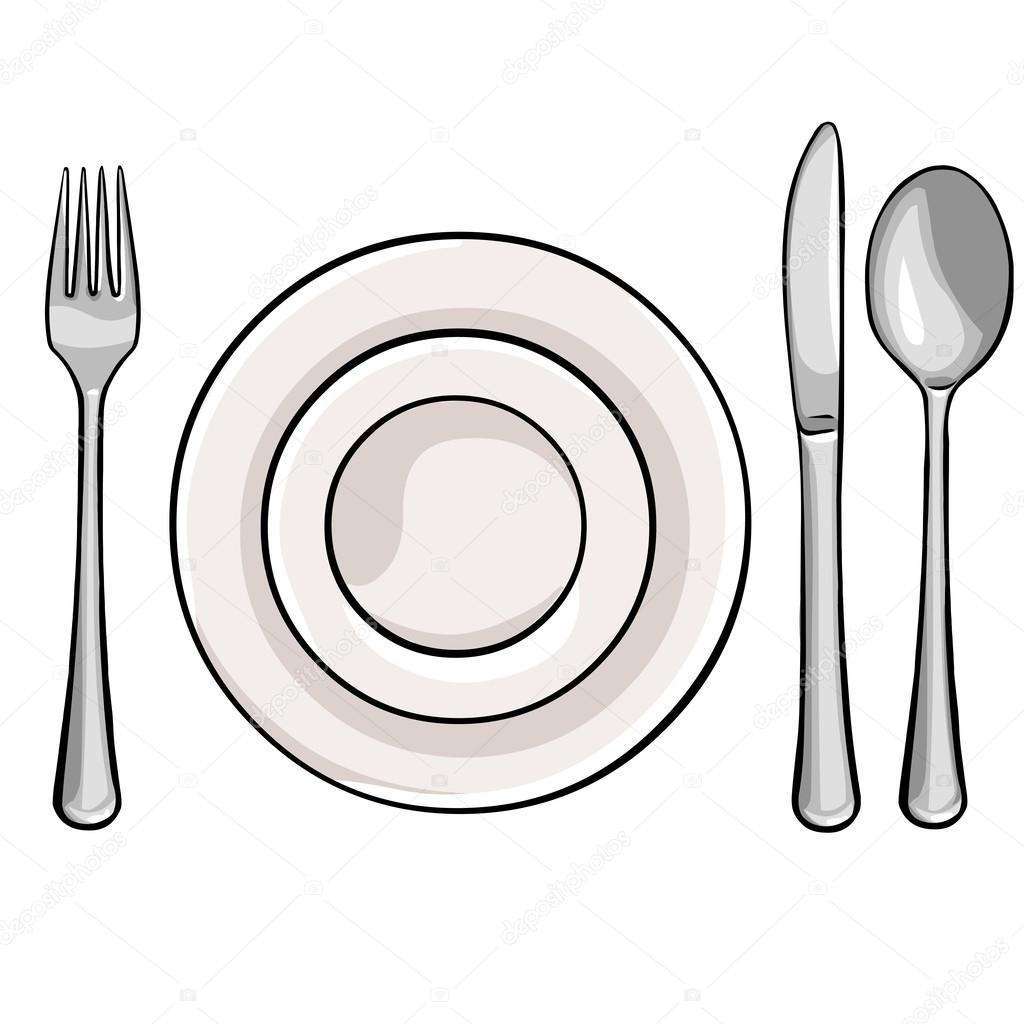 Cubiertos de vector tenedor plato cuchillo cuchara for Plato tenedor y cuchillo