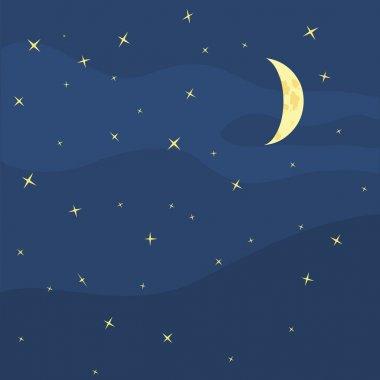 Vector night sky, moon and stars