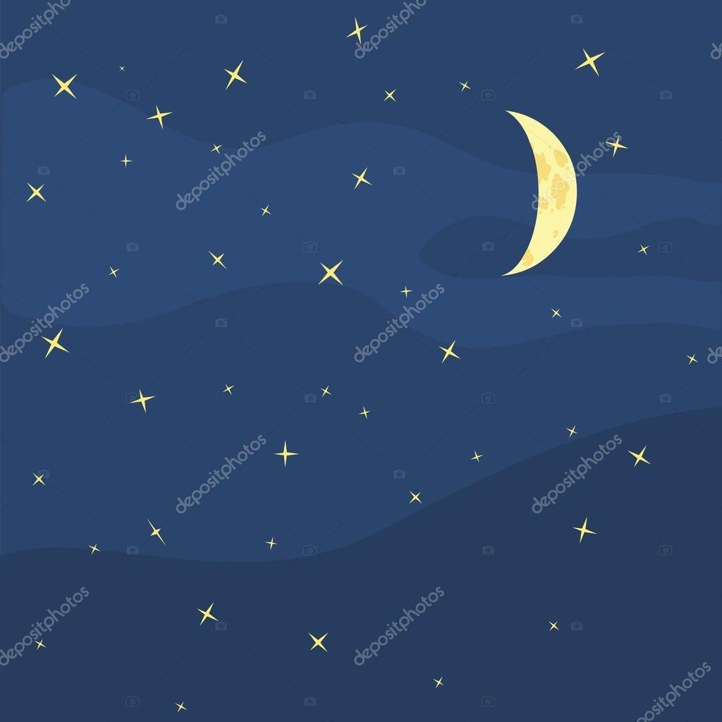 Vector night sky, moon and stars