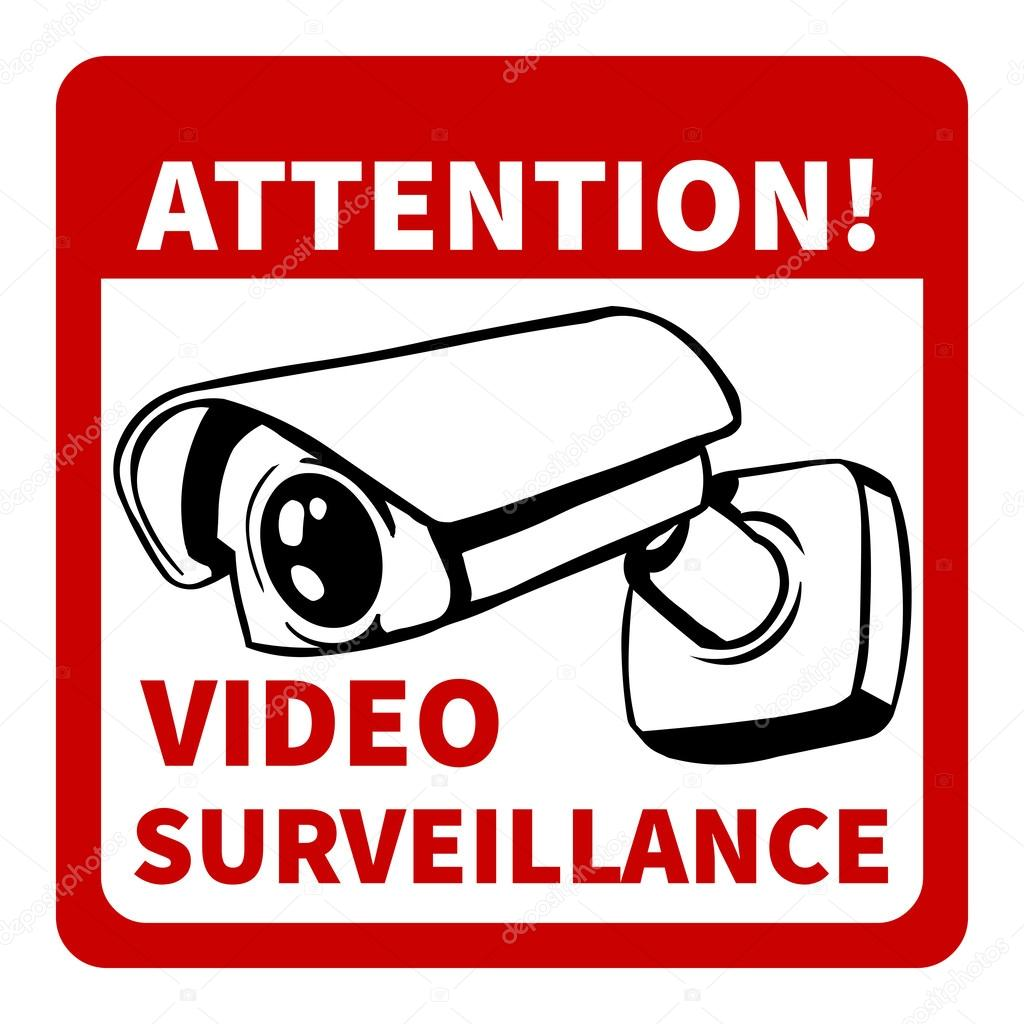 warning attention video surveillance stock vector. Black Bedroom Furniture Sets. Home Design Ideas