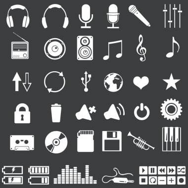 Vector set of 46 white music icons