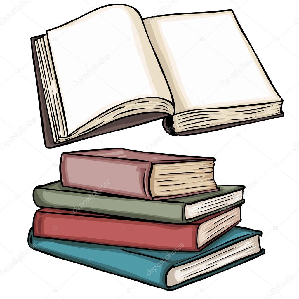 Vector Illustrations Vierges Livre Ouvert Et Pile De