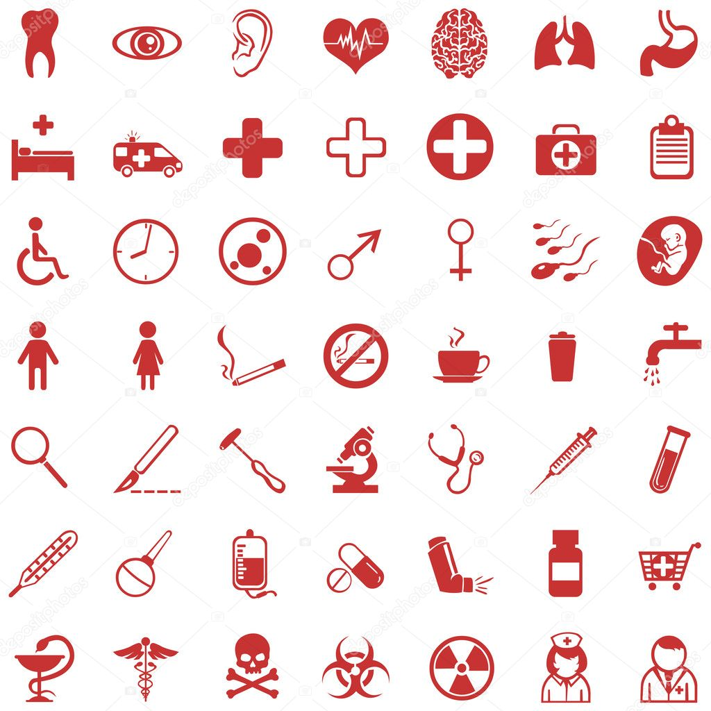 Vector set of 49 red medical icons