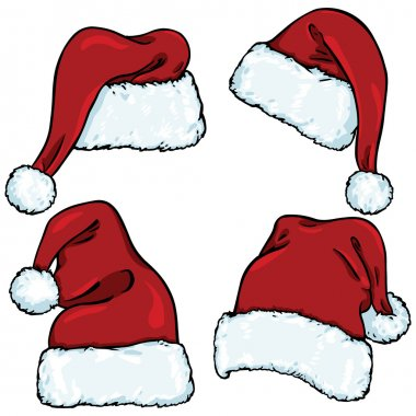 Vector set of cartoon santa claus hats