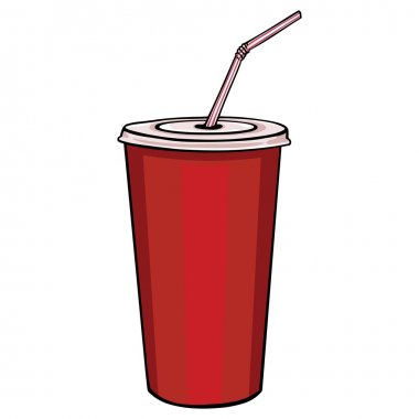 Vector red plastic cup with lid and straw