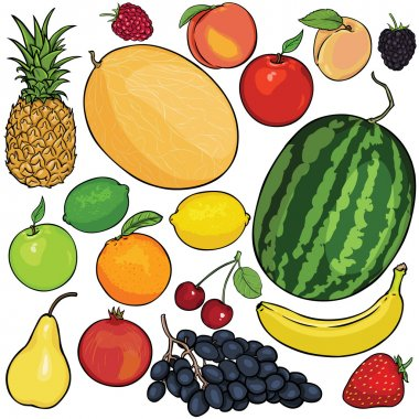 Vector set of 18 cartoon fruits: pineapple, raspberry, peach, melon, apple, apricot, blueberry, blackberry, watermelon, lemon, orange, cherry, pear, pomegranate, grapes, banana, strawberry, banana