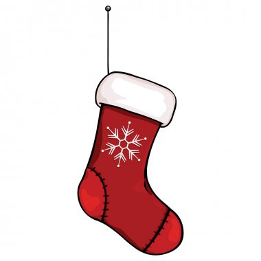 Vector cartoon Christmas stocking hanging on a rope