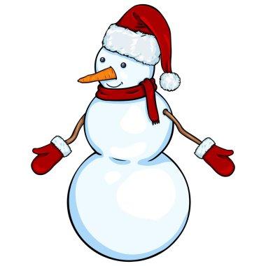 Vector cartoon character - Christmas snowman