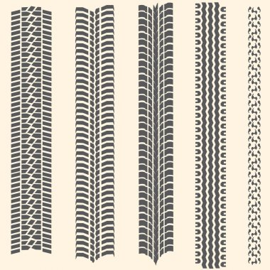 Vector set of 5 tire tracks