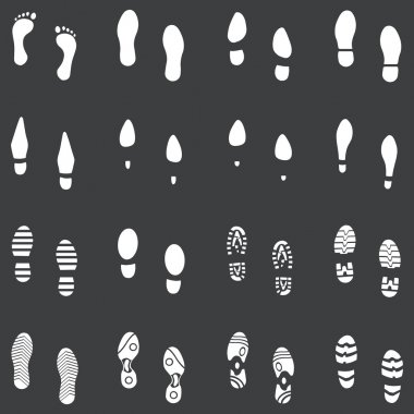 Vector set of 16 white footprint shoes