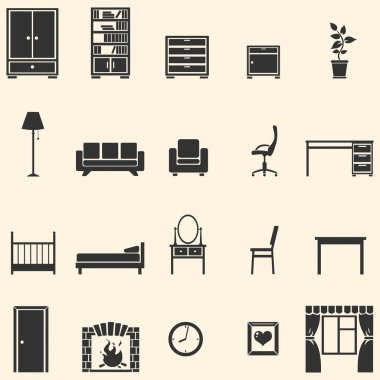 Vector set of 20 furniture icons