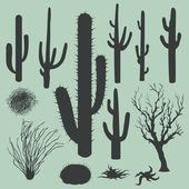 Fotografia set vettoriale delle sagome di cactus e altre piante del deserto