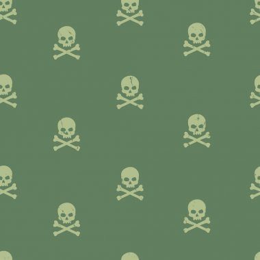 Vector seamlessgrunge pattern with skulls and bones on green background