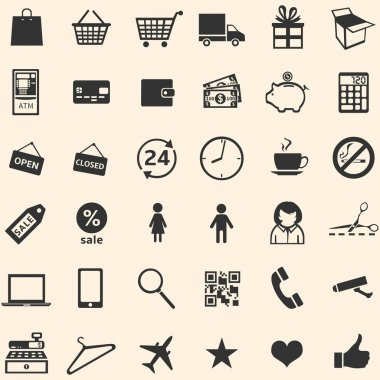 Vector set of 36 shopping icons