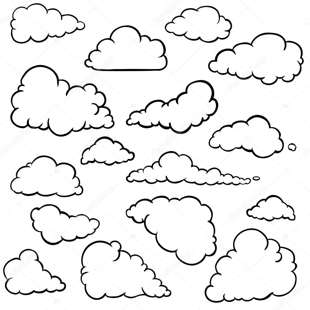 Vector set of outline clouds
