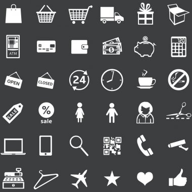 Vector set of 36 white shopping icons