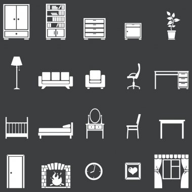 Vector set of 20 white furniture icons