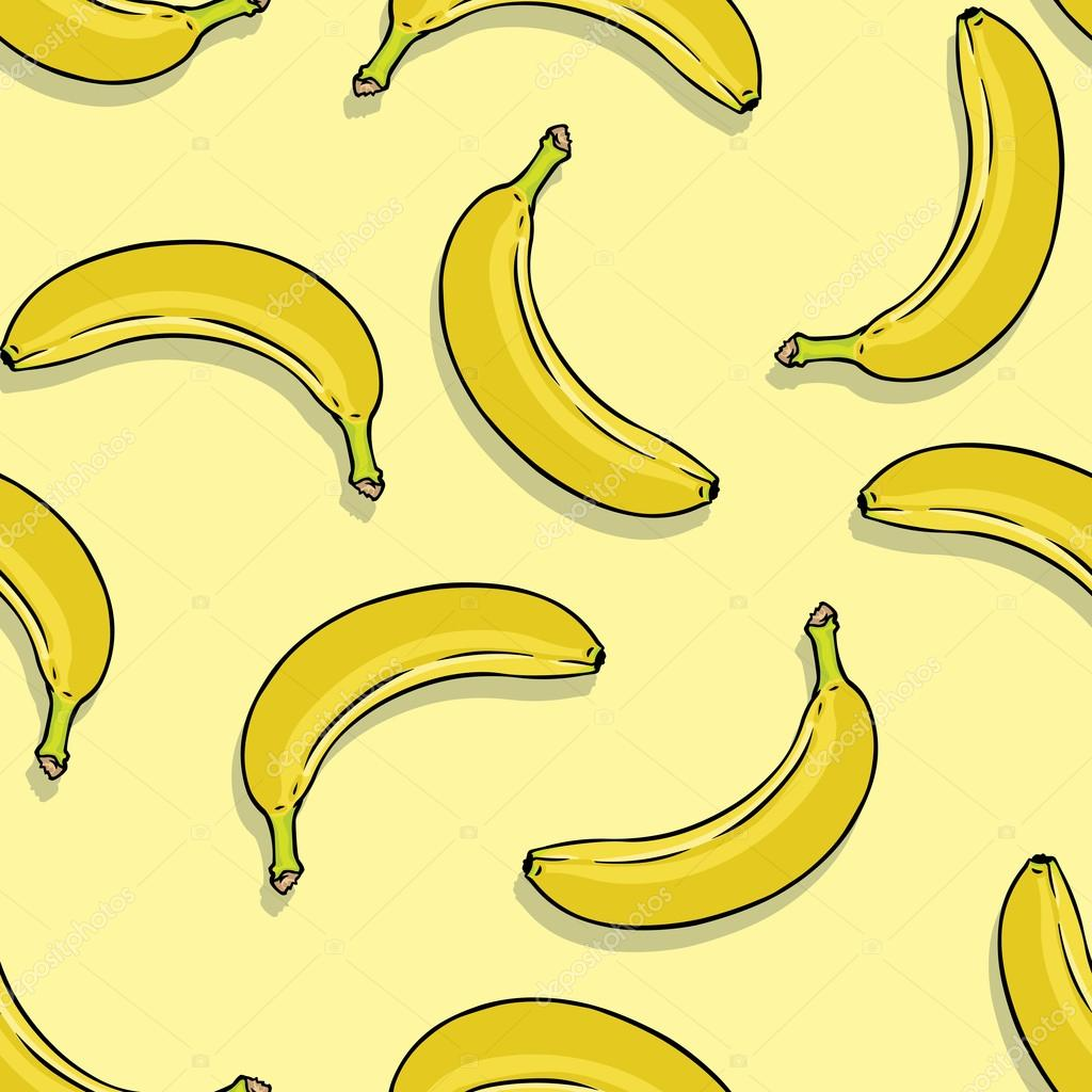 Vector seamless pattern of bananas on yellow background