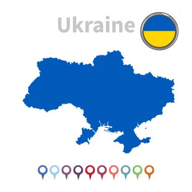 Vector map and flag of Ukraine