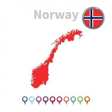 Vector map and flag of Norway