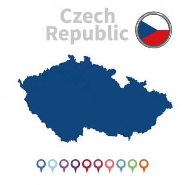 Vector map and flag of Czech Republic
