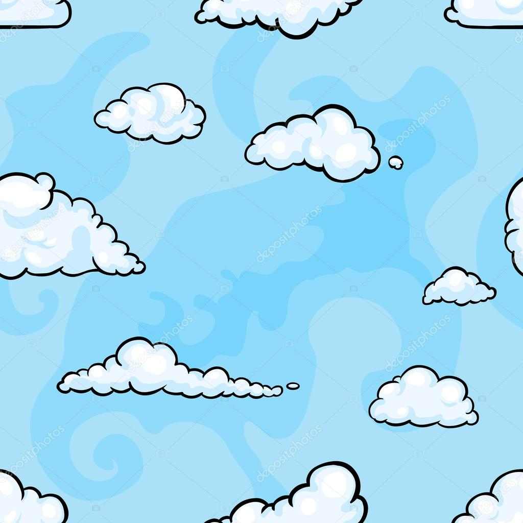 Vector seamless pattern of clouds on blue background