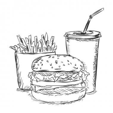 Vector sketch illustration - fast food: french fries, soda, burger
