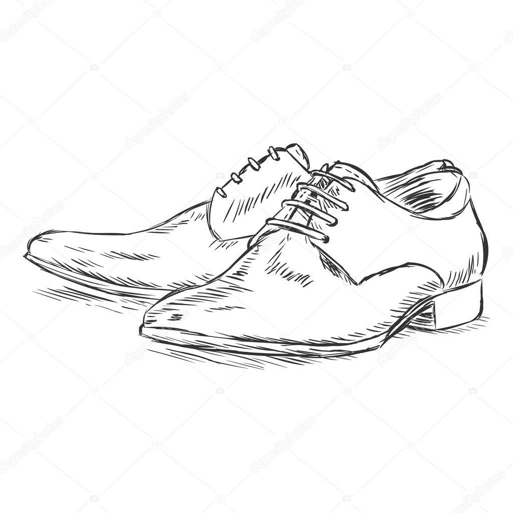 Vector sketch illustration - men's shoes — Stock Vector ...