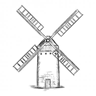 Vector sketch illustration - old wildmills