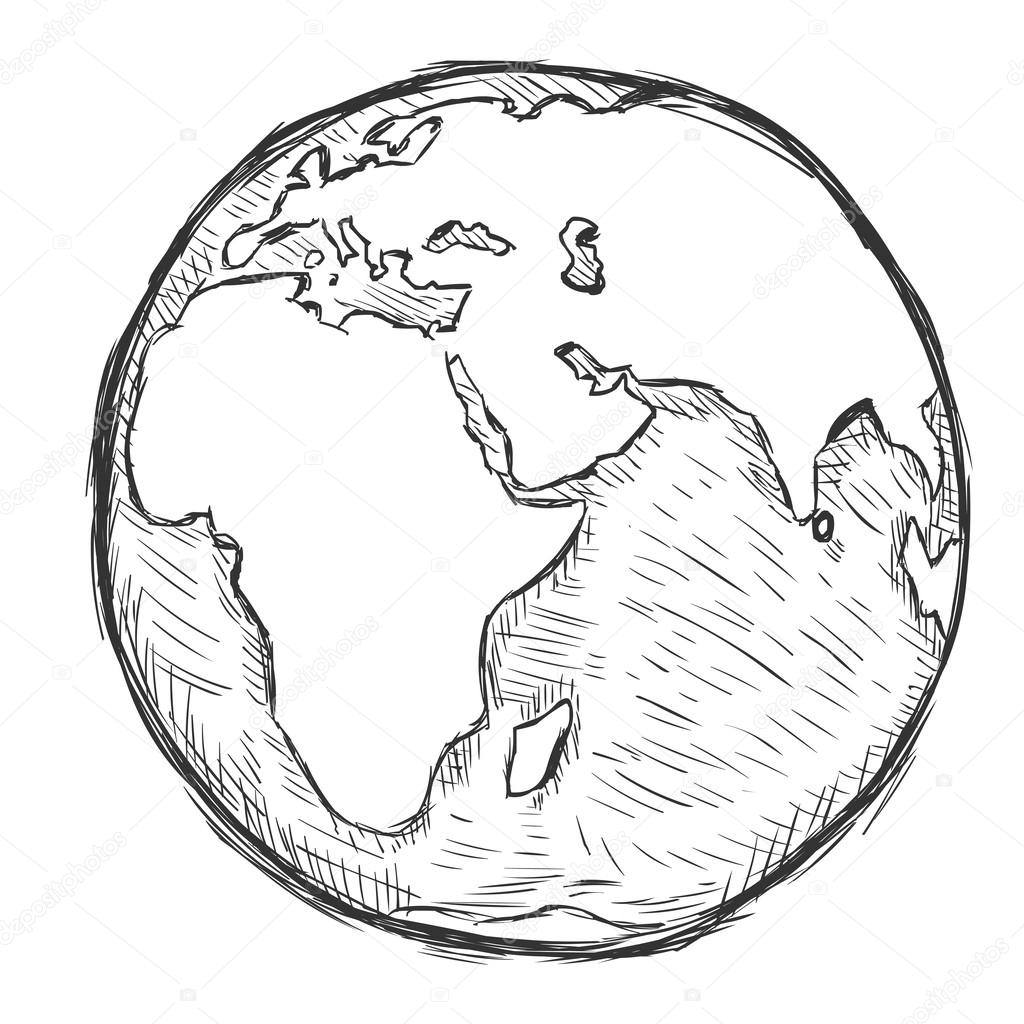 Line Drawing Earth : Vector sketch illustration globe stock