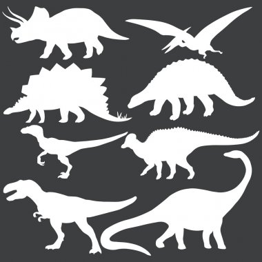 Vector set of white dinosaurs silhouettes