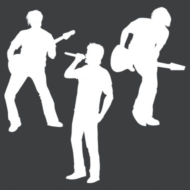 Vector white silhouettes of rock band: vocalist and two guitarists