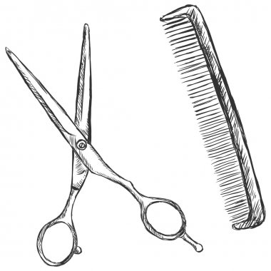 Vector sketch illustration - scissors and comb