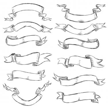 Vector set of sketch ribbons