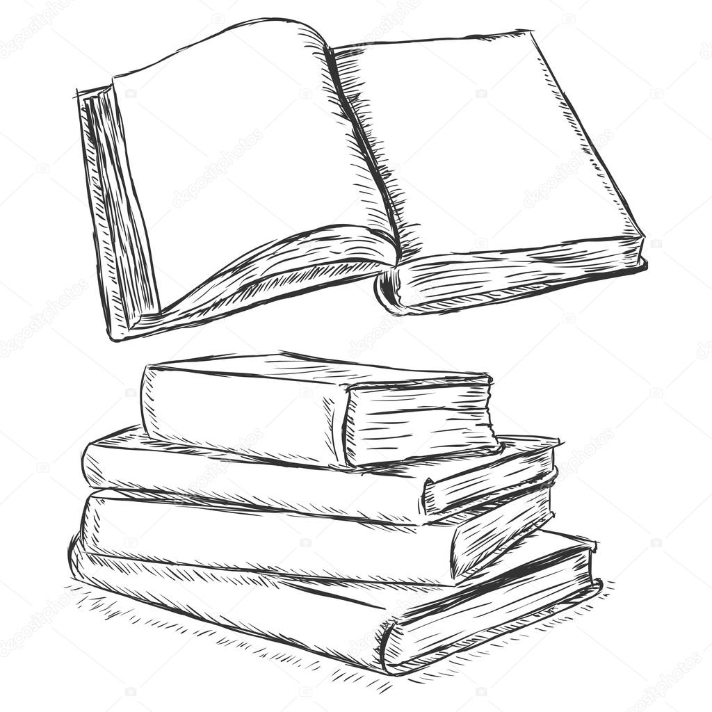 книги картинка карандашом