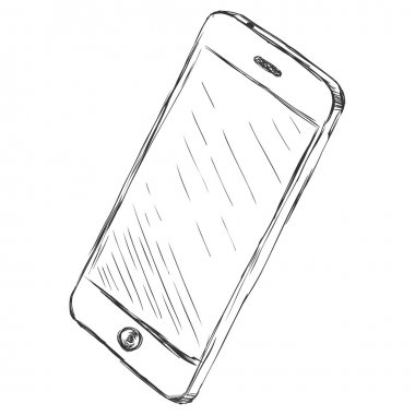 Vector sketch illustration - smartphone with touchscreen display