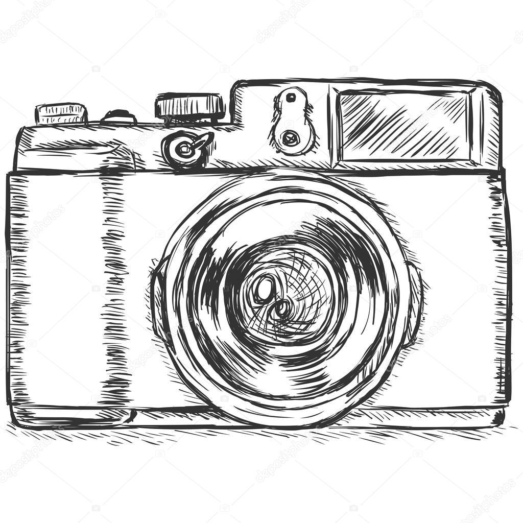 Fabuloso vetor desenho ilustração-câmara fotográfica — Vetores de Stock  NY32