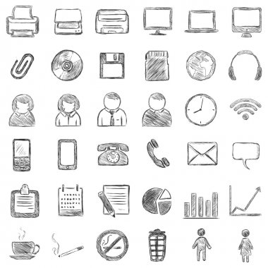 Vector set of 36 black sketch icons