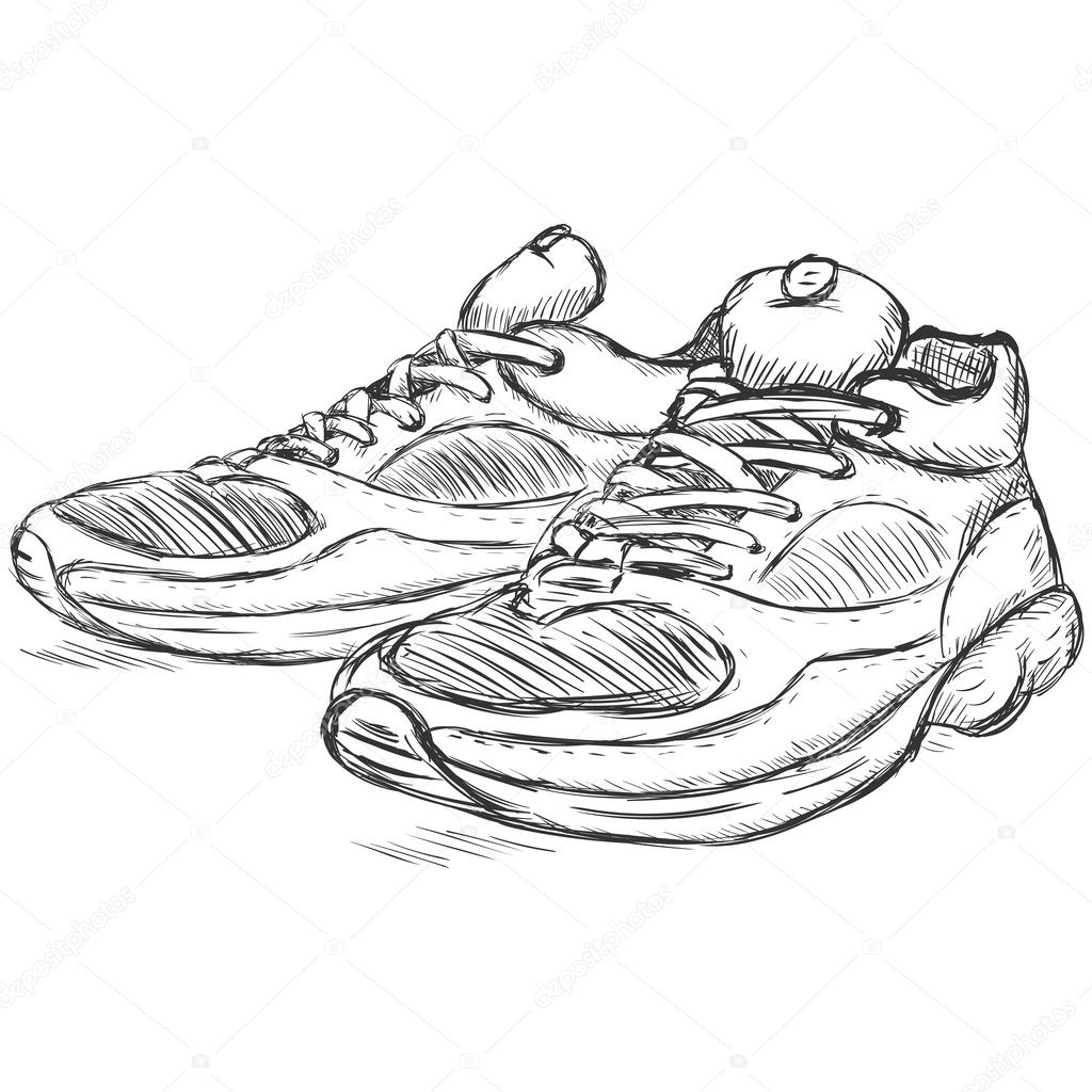 Drawing running shoes | Vector sketch