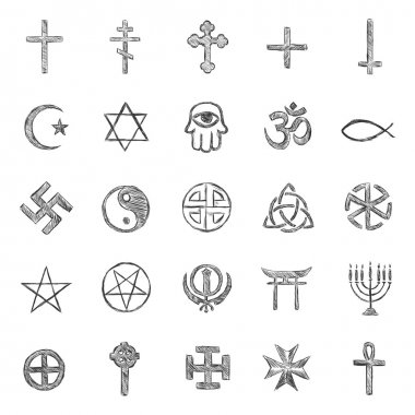 Vector set of sketch religious symbols