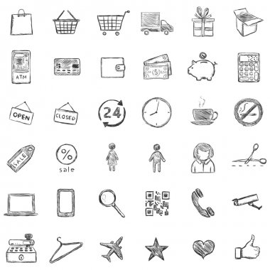 Vector Set Of Sketch Shopping Icons