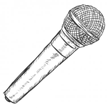 Vector Sketch Illustration -  Dinamic Microphone