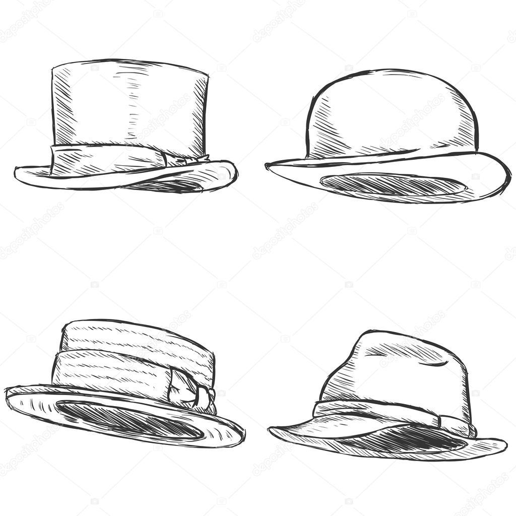 7dbc4fcd Vector Set of 4 Sketch Hats — Stock Vector © nikiteev #41376809