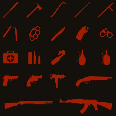 Vector weapon icons: baseball bat, ax, crowbar, telescopic baton, nunchaku, brass knuckles, knife, stun gun, handcuffs, first aid kit, ammo, grenade, pistol, revolver, Ingram, shotgun, AK-47