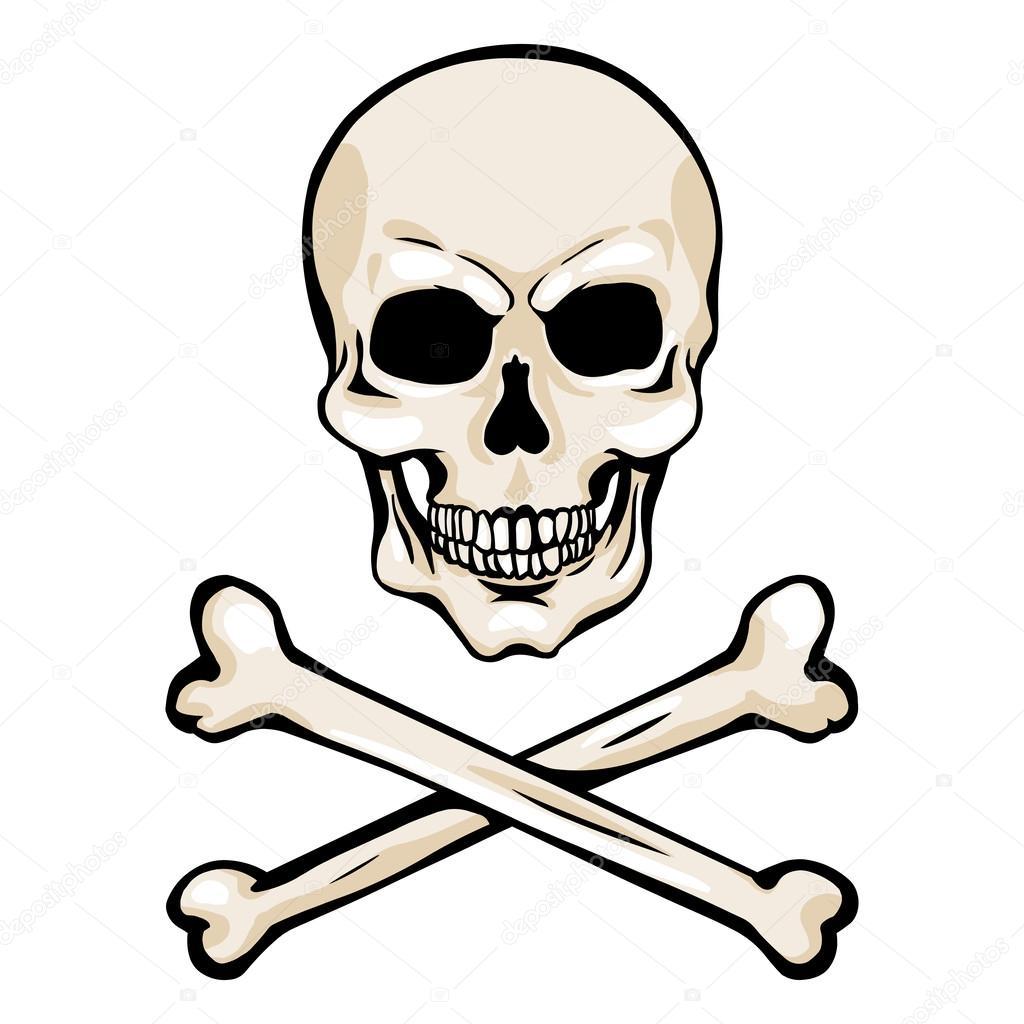 Calavera de pirata de dibujos animados Vector con tibias ...