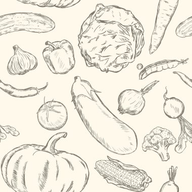 Vector Seamless Pattern of Sketch Vegetables