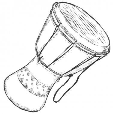 Vector Sketch African Drum